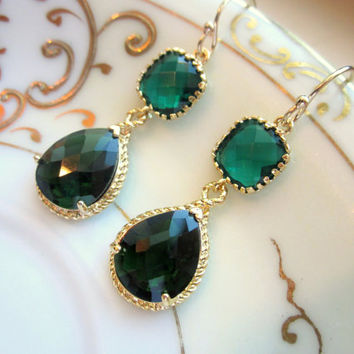 Emerald Green Earrings Gold Pendant Two Tier - Bridesmaid Earrings - Wedding Earrings - Bridal Earrings - Valentines Day Gift