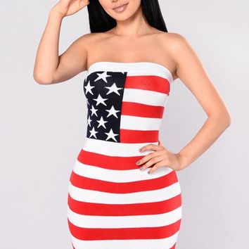 A| Chicloth American Flag Sun Dress Mini Strapless Dress