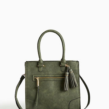 Faux Leather Zip Tote
