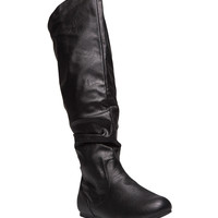 Tall Slouchy Faux Leather Boots - Wide Width | Wet Seal