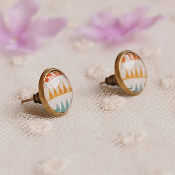 Bohemian Mini Stud Earrings for Girls Glass Cabochon Earrings Vintage Jewelry Antique Bronzed, Spring Jewelry,Gift For Her