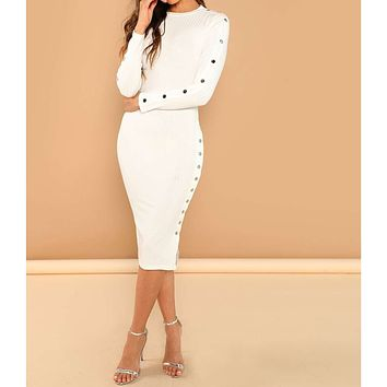 White Long Sleeve Snap Buttons Ribbed Midi Dress