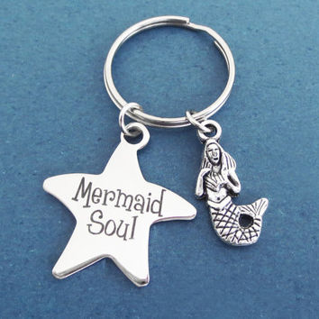 Mermaid soul, Ariel voice, Starfish, Keychain, Ariel, Keyring, The little mermaid, Mermaid, Key chain, Key ring, Gift, Jewelry, Accessory