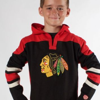 Youth Chicago Blackhawks Drift Fleece Pullover Hoody-Old Time Hockey