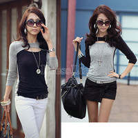 Women's Fashion Long Sleeve Crew Neck Hollow Out Front Top T-Shirt Tee Blouse