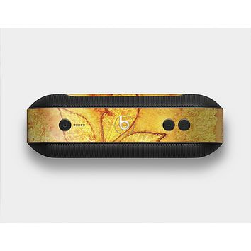 The Yellow Leaf-Imprinted Paint Splatter Skin Set for the Beats Pill Plus