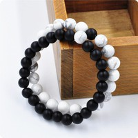 2 Pcs Set Black and White Couples Distance Bracelet