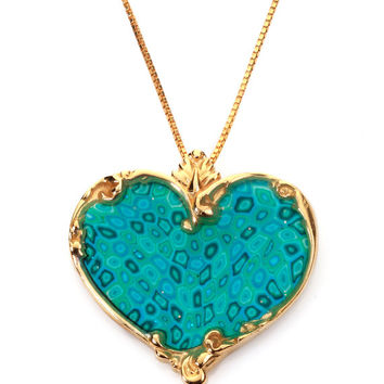 Romantic Jewelry - Gold Heart Necklace - Handmade Millefiori - Polymer Clay Charm - FREE SHIPPING