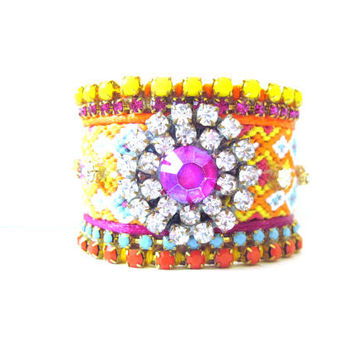 Neon friendship bracelet cuff  extra wide by distinguishedesigns