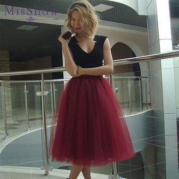 MisShow 2017 New Real Photo Cheap Tulle Tutu Skirt White 5 Layers Fluffy Midi Pleated Skirts Womens Faldas Saia Cintura Alta