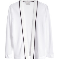 H&M - Fine-knit Cardigan - White - Ladies