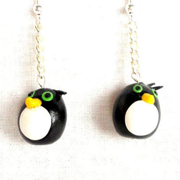 Emo penguin earrings polymer clay animal in chain handmade black and white clay
