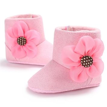 2017 Newborn Baby Princess Girls Autumn Winter Boots Booties Infant Toddler Kids Prewalker Soft Soled Anti-slip Shoes 6Colors