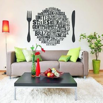 Wall Sticker Decals Art Mural food spoon fork letter decoration YE0112