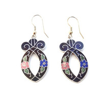 Free Shipping - Vintage Enamel Painted Earrings Black with Flowers