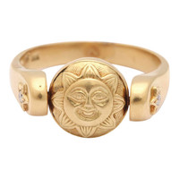 Gold Sun/Moon Swivel Ring