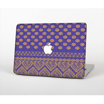 The Tall Purple & Orange Vintage Pattern Skin Set for the Apple MacBook Air 11""