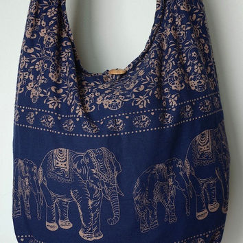 Navy Blue Cotton Bag Handbags Elephant Bag Hippie Hobo Bag Boho Bag Shoulder Bag Sling Bag Messenger Bag Crossbody Purse