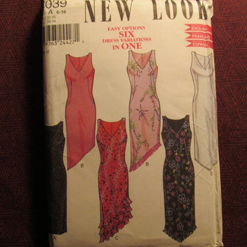 SALE Uncut Simplicity New Look Sewing Pattern, 6039! 6-8-10-12-14-16 Small/Medium/Large/Women's/Misses/Sleeveless Formal Dresses/Tiered/Fril