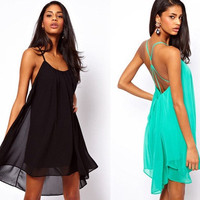 Womens Sexy Summer Backless Party Beach Dress