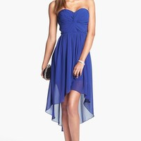 Way-In Strapless Twist Front High/Low Dress (Juniors) | Nordstrom