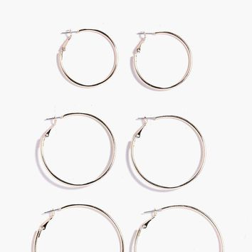 Aaliyah Mixed Size Hoop Earring 3 Pack | Boohoo