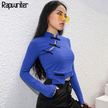 Rapwriter Chinese Style Buckle Detachable Pocket Cotton T-Shirt Women 2018 New Stretch Autumn Stand Coll Long Sleeve Tees Top