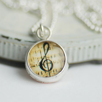 Treble Clef Necklace, Music Jewelry, Personalized Jewelry, Graduation Gift, Inspirational Jewelry, Daughter Gift, Silver Necklace, Under 50