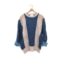 Vintage Wool & Mohair Sweater Thick Fuzzy Knit Sweater Blue Oatmeal Cream Preppy Knit Sweater Slouchy Chunky Fall BOHO Sweater Mens Small