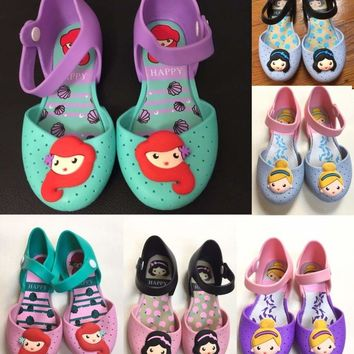 Kids SnowWhite Mermaid Ariel Cinderella Princess Shoes Summer Jelly Soft Sandals