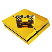 Gold Glossy Protective Vinyl Game Controller Decal Skin Sticker Cover For Playstation 4 For Sony For PS4 Console+Controllers