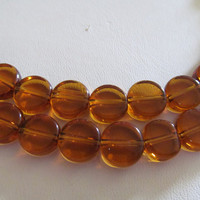 10mm Translucent brown coin glass beads