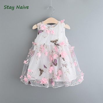 The latest 2017 summer children's clothing for girls butterfly petal yarn vest princess dress  jumpsuit