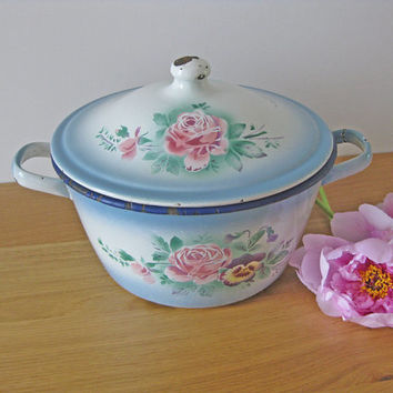 Cooking pot, large antique French enamel cooking pan with hand painted flowers