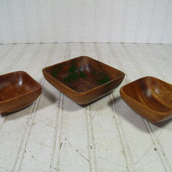 Vintage Trio of Solid Rustic Wood Bowls - Retro Group of 3 Wooden Primitive Trinket Dishes - Monkey Pod Collection Ready for Repurposing