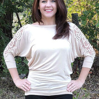 Tan Dolman Top with Lace Open Shoulders