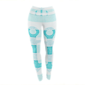 "Monika Strigel ""Stone Vintage Aqua Anchor"" Yoga Leggings"