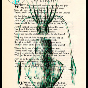Green Squid Drawing Beautifully Upcycled Vintage Dictionary Page Book Art Print, Sea Life Print