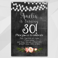 30th Birthday invitation, String Lights Watercolor Chalkboard Invitation, 13th 18th 21st 30th 40th 50th, etsy invitation XA003c