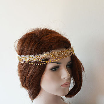 Bridal Headband, Bohemian Bridal Hair Piece, Wedding Headpiece, rhinestone bridal headband, Boho Wedding Halo, Bridal Halo