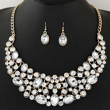 Women Jewelry Temperament Geometric Oval Crystal Gem Necklace Earring Set