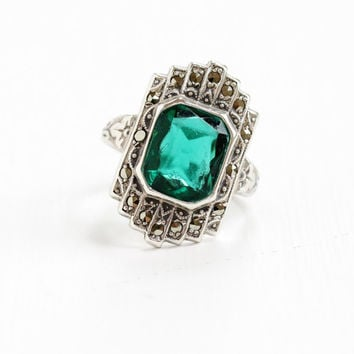 Antique Art Deco Emerald Green Glass & Marcasite Ring- Vintage Size 4 1/2 1930s Sterling Silver Shield Uncas Jewelry