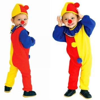 Rompers+Hat+Nose Children Party Kids Baby Jumpsuits Halloween Carnival Clown Circus Costume  Sales Promotion Staff Clothing 89