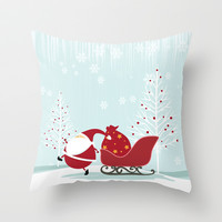 Happy Santa Throw Pillow by MadTee