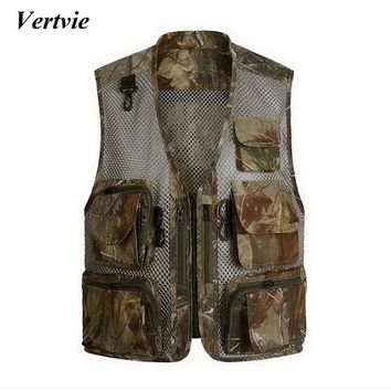 VERTVIE Men Camo Vest Camouflage Mesh Multi Pockets Chaleco Hombre Fish Hunt  Shooting Waistcoat Sleeveless Tank Top Plus Size