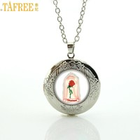TAFREE Brand beautiful beauty and the beast Rose locket pendant flower charms statement necklace for women girls jewelry CT14
