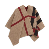 Girls' Mega Check Wool/Cashmere Cape, Size: ONE SIZE, HOUS CHK BLACK - Burberry