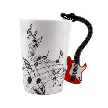 Ceramic Mug Musical Instrument Style Coffee Milk Cup Kitchen Home - Garden