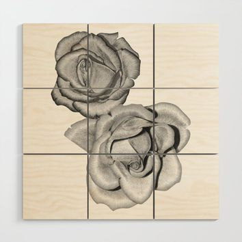 Grey Roses Wood Wall Art by drawingsbylam