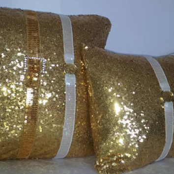 Gold Sequins All Over Luxury Pillow Covers (2-Piece Set)